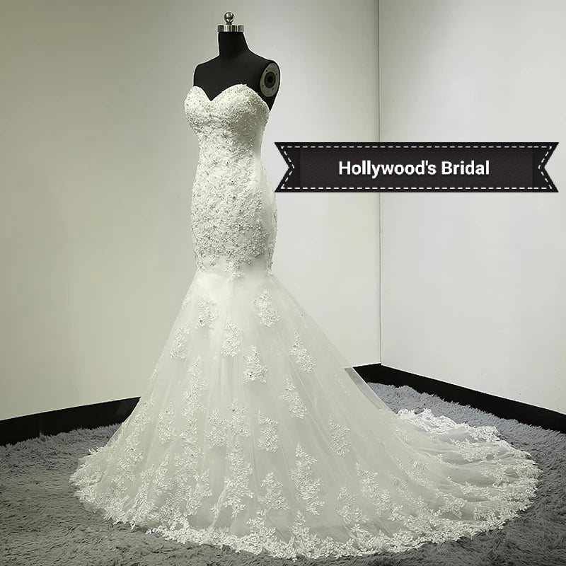 Lace Applique and Beaded Sleeveless Wedding Dress