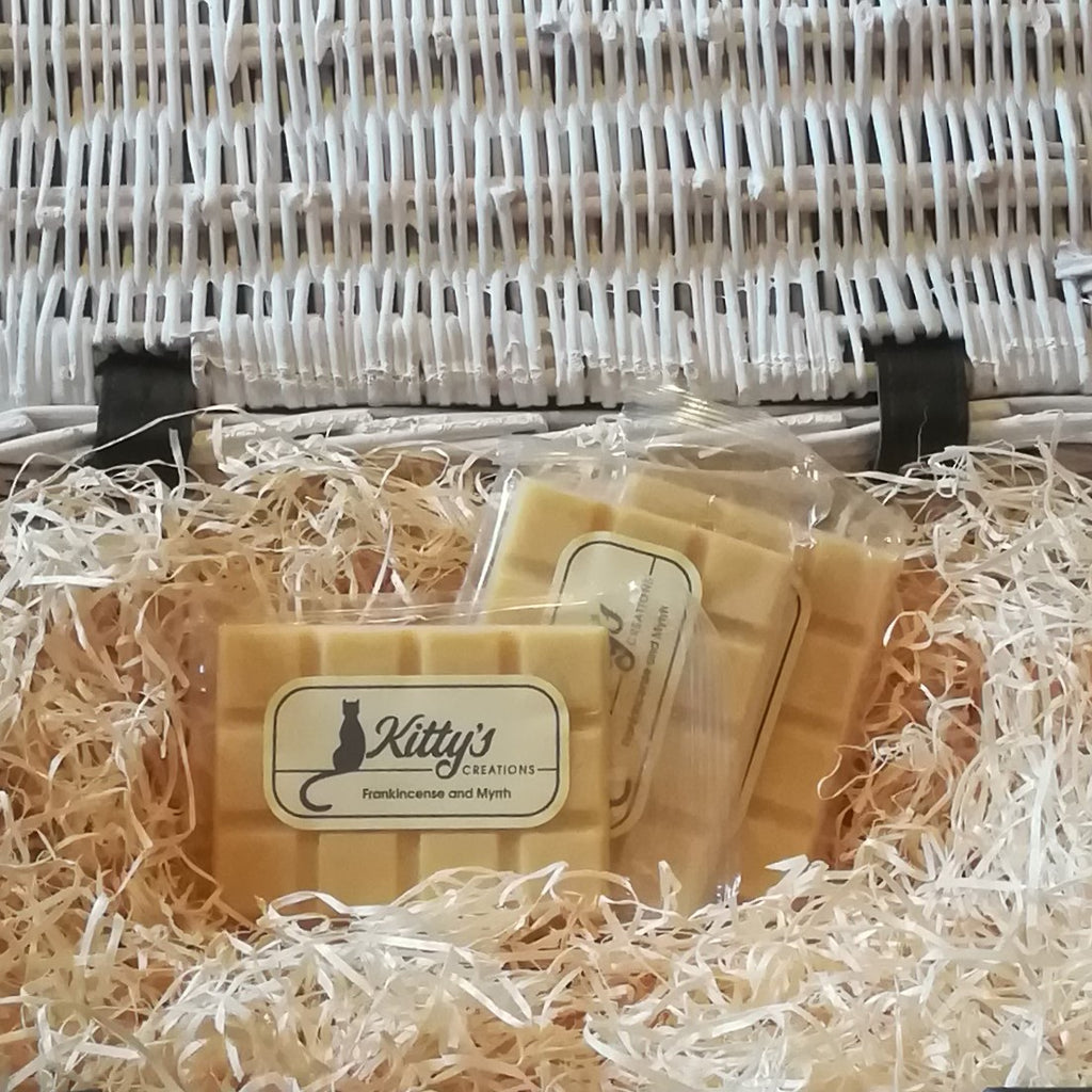 Three hand-made rectangular Wax Melts, each a rich and warming amber yellow, nestled in a basket of straw. Frankincense, cedar wood, amber, myrrh and jasmine combined together to give you a fragrance from lands afar. This timeless aroma is warming and comforting, calming and complex, delighting you and making you glad to be home.
