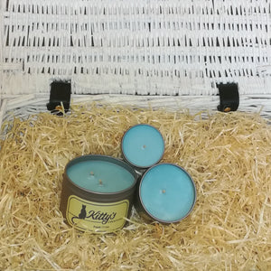 Three hand poured candles filled with soy wax, contained in travel tins with clear see through lids ready for you to take on your next adventure whether for work or pleasure.