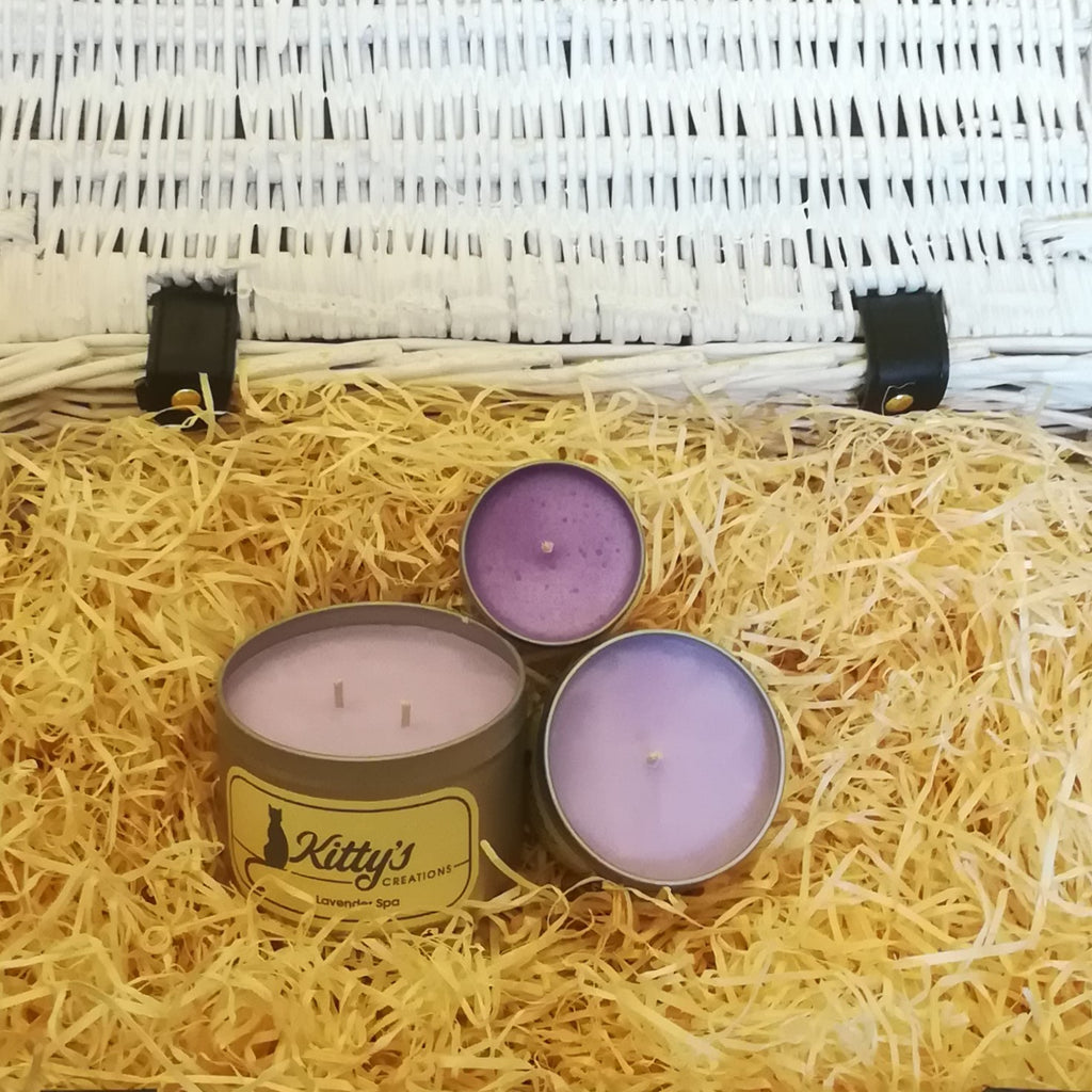 Three light purple, hand poured candles filled with lavender fragranced soy wax, contained in travel tins with clear see through lids ready for you to take on your next adventure whether for work or pleasure.