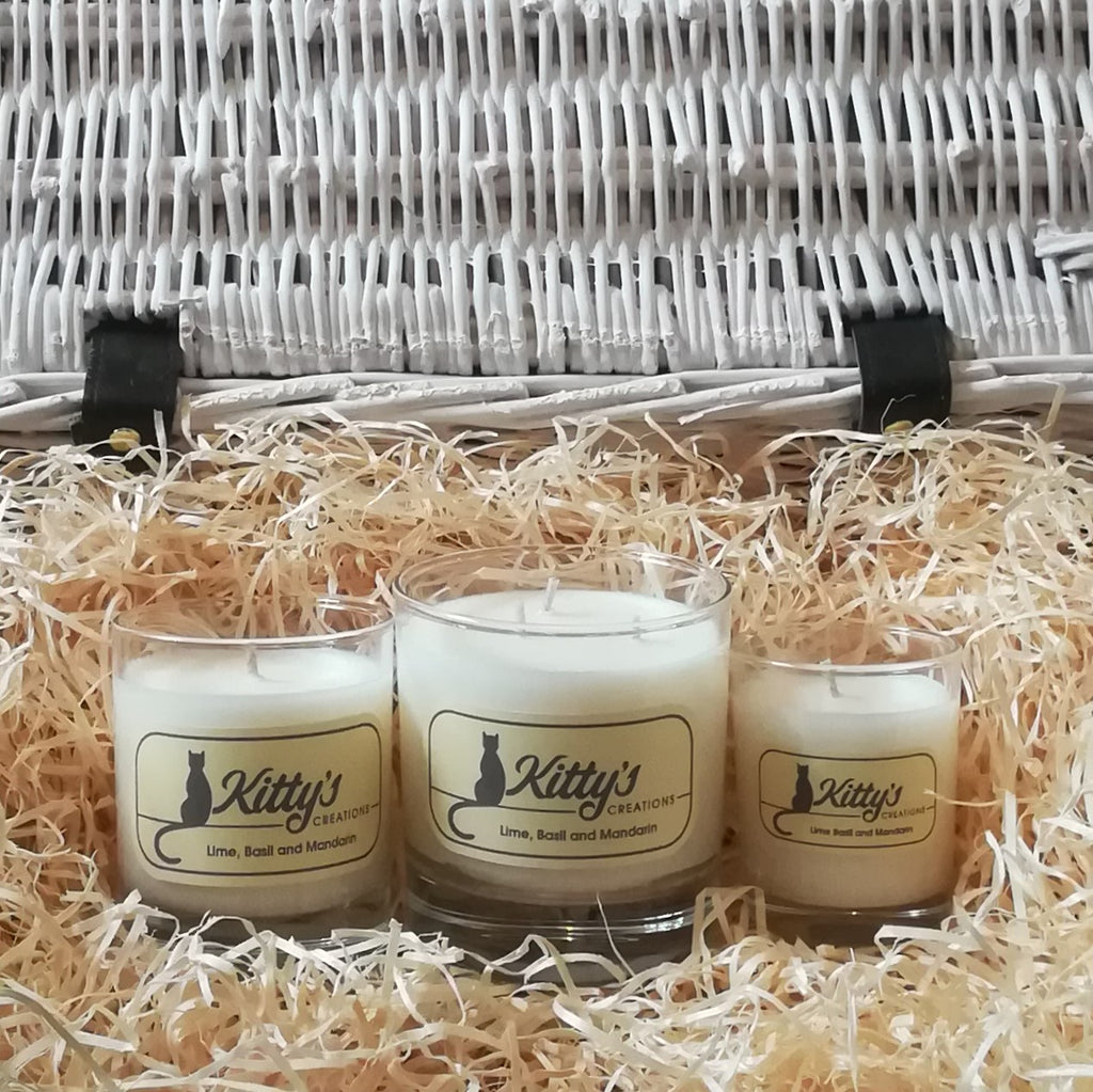 Hand poured candles in handsome glass tumblers filled with natural soy wax.