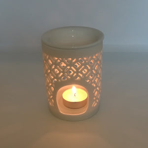 ceramic wax melt burner moroccan lattice pattern with tealight candle