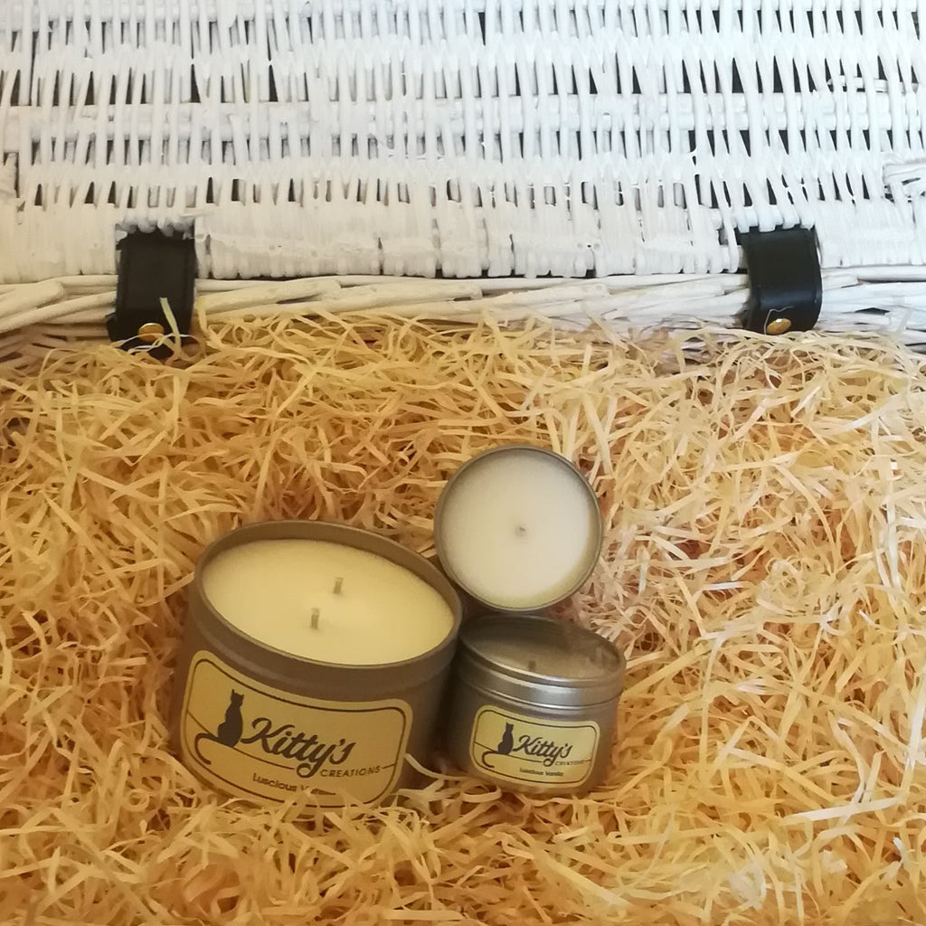 Three hand poured candles filled with vanilla fragranced soy wax, contained in travel tins with clear see through lids ready for you to take on your next adventure whether for work or pleasure.