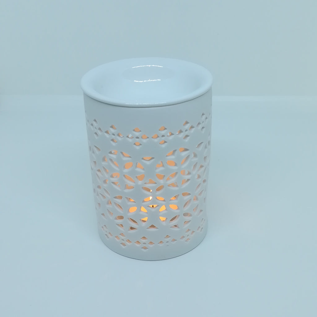 ceramic wax melt burner petal lattice pattern with tealight candle