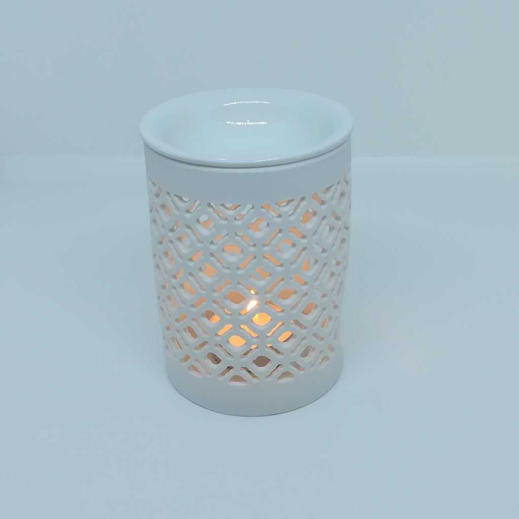 ceramic wax melt burner moroccan lattice pattern