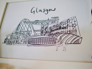 Glasgow print with Kelvingrove Art Gallery