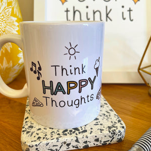 Personalised Think Happy Thoughts mug