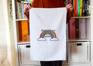 Personalised Rainbow Tea Towel
