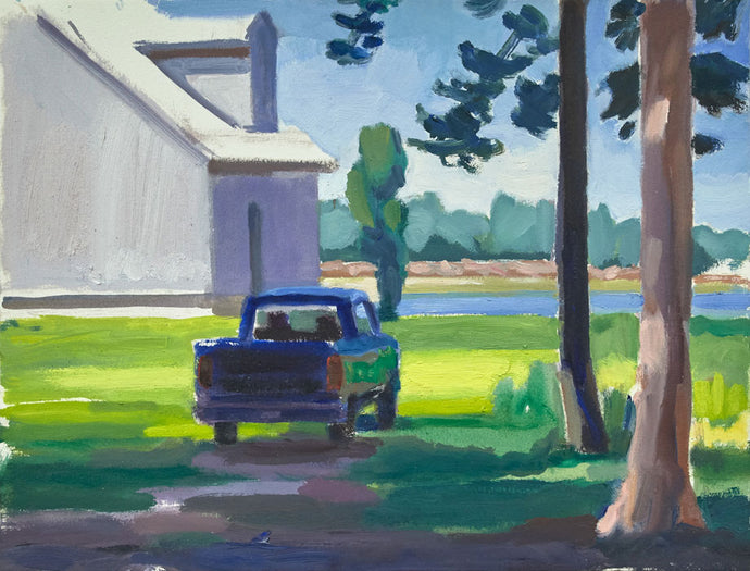Truck and House, Addison, 12×26 inches, oil on Arches oil paper, 2019