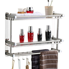 304 Stainless Steel 3 layers Bathroom Shelf Shower Shampoo Soap Cosmetic Shelves Bathroom Accessories with Robe Hook wall mount