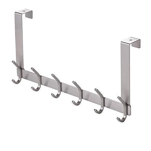 Cheap yumore door hanger stainless steel heavy duty over the door hook for coats robes hats clothes towels hanging towel rack organizer easy install space saving bathroom hooks