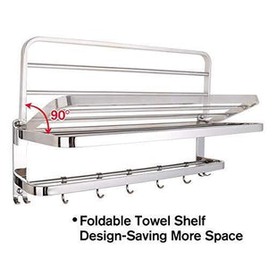 Purchase 304 stainless steel towel racks for bathroom with double towel bars 24 inch wall mount bath rack rustproof double layers foldable rail shelves bar with hooks