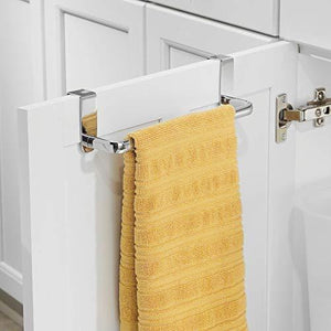 Order now mdesign kitchen over cabinet metal towel bar hang on inside or outside of doors for hand dish and tea towels 9 75 wide 2 pack chrome