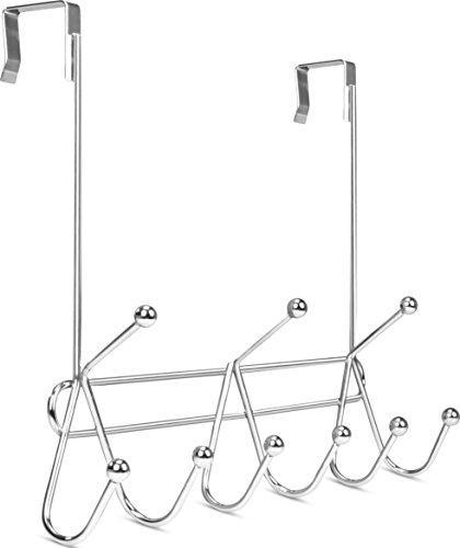 Results utopia home over the door hook rack organizer 9 hooks ideal for coats hats robes and towels chrome finishing