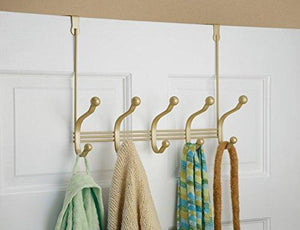 Online shopping mdesign over door 10 hook steel storage organizer rack for coats hoodies hats scarves purses leashes bath towels robes gold brass