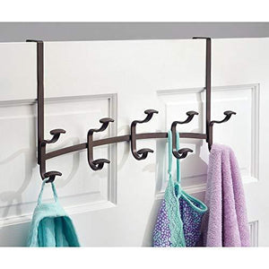 Top rated mdesign decorative metal over door 10 hook steel storage organizer rack for coats hoodies hats scarves purses leashes bath towels robes for mens and womens clothing bronze