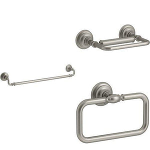 Amazon best kohler artifacts 3 piece bath accessory set with 24 in towel bar brushed nickel