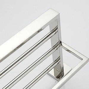 Storage organizer towel hanger bathroom shelf contemporary stainless steel 1 pc hotel bath double
