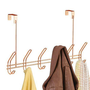 Kitchen interdesign classico over door storage rack organizer hooks for coats hats robes clothes or towels 6 dual hooks copper