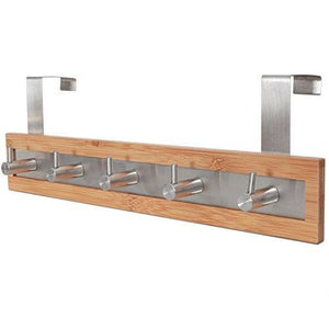 Save toilettree products bamboo wood stainless steel over the door towel rack 5 hooks