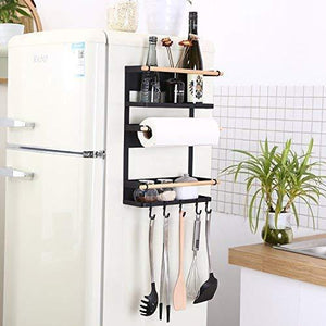 Latest kitchen rack magnetic fridge organizer 18x12 7x5 inch paper towel holder rustproof spice jars rack heavy duty refrigerator shelf storage including 6 removable hooks black 2019 new design