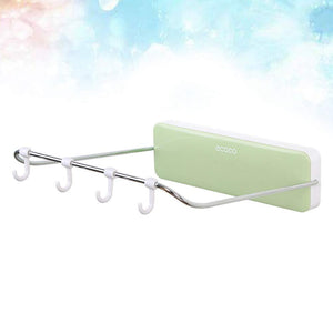 Kitchen ounona automatic rebound bathroom wash basin storage rack foldable dish pan brush towel shelf hanger with 4 hooks green