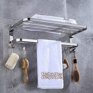 Related 304 stainless steel towel racks for bathroom with double towel bars 24 inch wall mount bath rack rustproof double layers foldable rail shelves bar with hooks