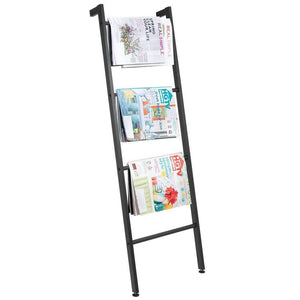 Organize with mdesign metal free standing bath towel bar storage ladder holds towels blankets clothes and magazines newspapers 4 levels matte black
