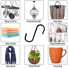 Budget friendly flammi 20 pack heavy duty s shaped hooks rustproof black finish steel kitchen s type hooks hangers for pans pots plants bags towels