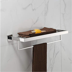 Storage towel hanger bathroom shelf contemporary stainless steel 1 pc hotel bath double