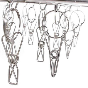 Exclusive stainless steel clothes drying racks laundry drip hanger laundry clothesline hanging rack set of 24 clothespins for drying clothes towels underwear lingerie socks