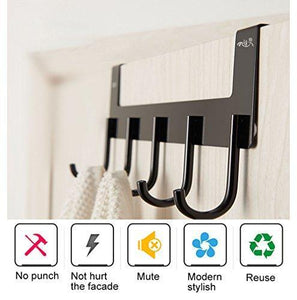 Best seller  over the door hook hanger rongyuxuan heavy duty organizer for coat clothes towel bag robe 5 hooks wall mount tool holder for home storage organizer aluminum