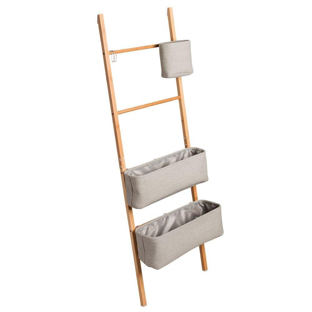 Shop for interdesign formbu wren free standing bathroom storage ladder with bins for towels beauty products lotion soap toilet paper accessories natural gray