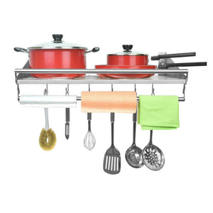 Featured homelifairy pot and pan towel rack bathroom shelf organizer stainless steel mounted microwave wall shelf with 6 hooks multi purpose organizer for home restaurant bathroom kitchen 23 5inx 11 5in