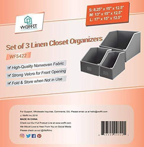 Related woffit linen closet storage organizers set of 3 foldable baskets to organize your sheets towels washclothes blankets clothing sweaters etc 100 organic fabric bins