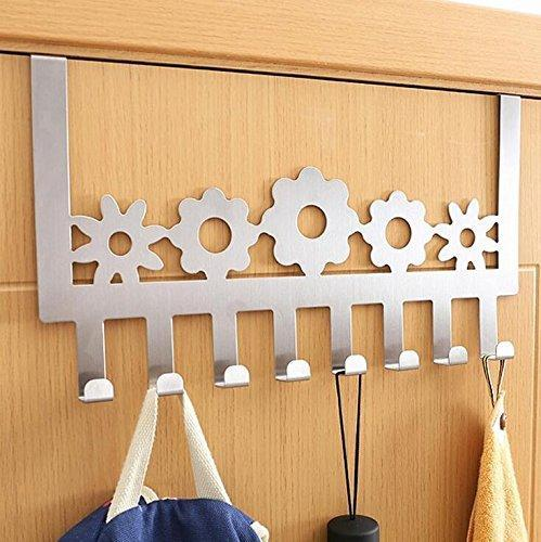 On amazon stainless steel over door hooks home kitchen cupboard cabinet towel coat hat bag clothes hanger holder organizer rack 8pcs suitable for the thickness door