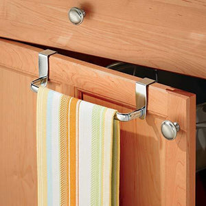 Online shopping mdesign kitchen over cabinet metal towel bar hang on inside or outside of doors for hand dish and tea towels 9 75 wide 2 pack chrome
