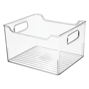 Kitchen mdesign plastic bathroom vanity storage bin box with handles deep organizer for hand soap body wash shampoo lotion conditioner hand towel hair brush mouthwash 10 long 8 pack clear