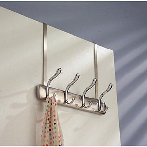 Results arkbuzz over door storage rack organizer hooks for coats hats robes clothes or towels 4 dual hooks brushed nickel chrome