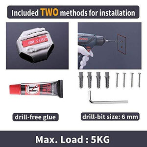 Kes 4-Piece Bathroom Accessory Set No Drill Glue RUSTPROOF Without Drilling Screw Free Wall Mount Polished SUS 304 Stainless Steel, LA240DG-42