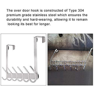 Explore yumore door hanger stainless steel heavy duty over the door hook for coats robes hats clothes towels hanging towel rack organizer easy install space saving bathroom hooks
