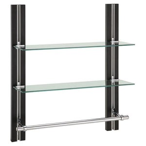On amazon organize it all mounted 2 tier adjustable tempered glass shelf with chrome towel bar
