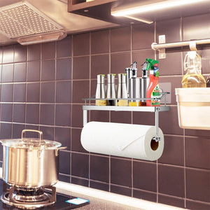 Save odesign 2 in 1 paper towel holder with shelf for kitchen shower bathroom sus 304 stainless steel no drilling