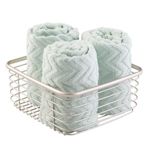 Products mdesign modern bathroom metal wire metal storage organizer bins baskets for vanity towels cabinets shelves closets pantry kitchens home office 9 75 square 4 pack satin