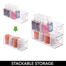 Online shopping mdesign storage bins with built in handles for organizing hand soaps body wash shampoos lotion conditioners hand towels hair accessories body spray mouthwash 16 long 8 pack clear