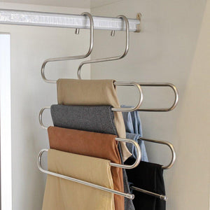 Latest pants hangers dexing s type multi purpose stainless steel magic space saving hangers clothes organizer for trousers towels ties and scarfs 5 pcs