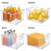 Heavy duty mdesign plastic bathroom vanity storage bin box with handles deep organizer for hand soap body wash shampoo lotion conditioner hand towel hair brush mouthwash 10 long 8 pack clear