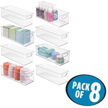 Order now mdesign storage bins with built in handles for organizing hand soaps body wash shampoos lotion conditioners hand towels hair accessories body spray mouthwash 16 long 8 pack clear