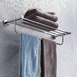 Amazon satopics towel rack with towel bar polished bathroom shelf wall mount