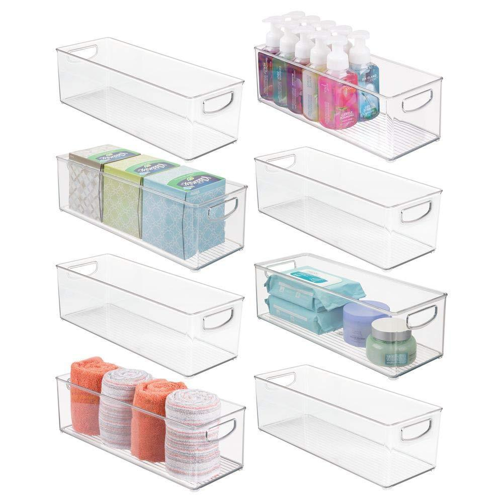 Kitchen mdesign storage bins with built in handles for organizing hand soaps body wash shampoos lotion conditioners hand towels hair accessories body spray mouthwash 16 long 8 pack clear